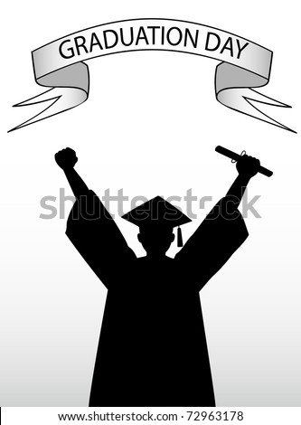 vector illustration of a graduate student