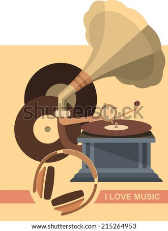 vector illustration of a gramophone and records in a retro style and retro colors