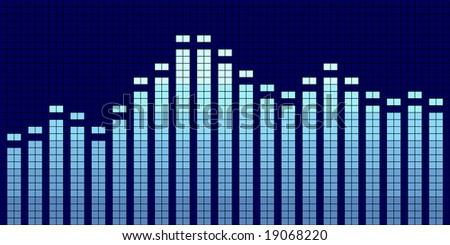 Vector illustration of a graphic equalizer in blue tones.