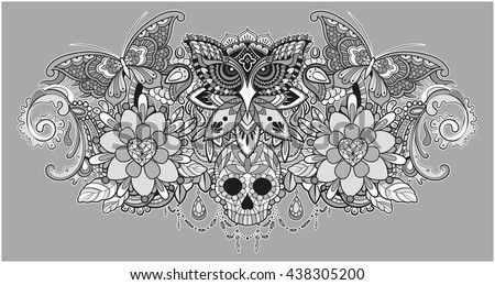 Vector illustration of a grayscale mandala collection with an owl, a skull and butterflies - stock vector