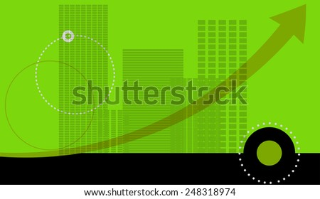 Vector illustration of a green background with a silhouette of the city.