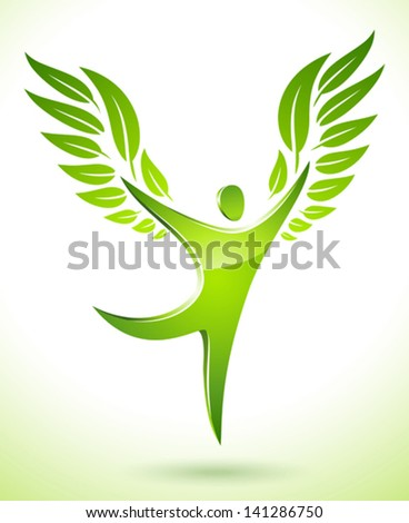 Vector illustration of a green figure with leaves as wings - stock vector
