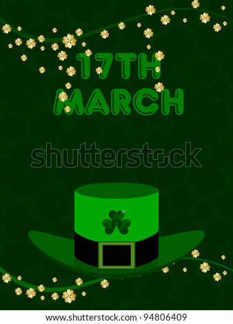 Vector illustration of a green hat with the branches of shamrock's leaf with text 17 March for St. Patrick's Day.
