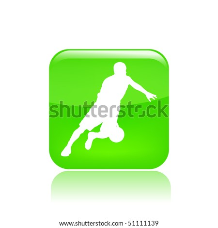Vector illustration of a green icon isolated in a modern style with a reflection effect depicting a basketball player in action