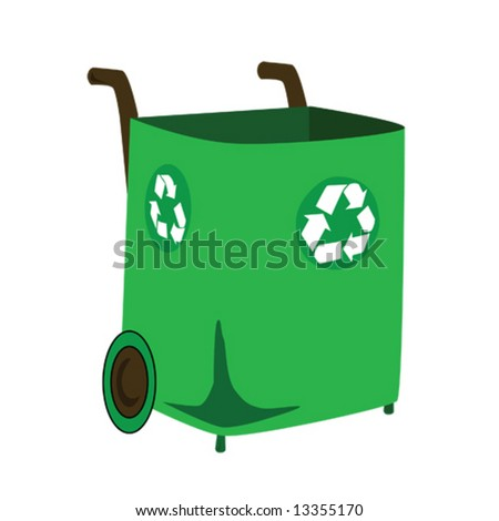Vector illustration of a green recycling bin, with handles and wheels for transportation.