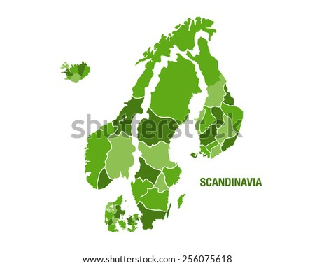Vector illustration of a green scandinavia map - stock vector