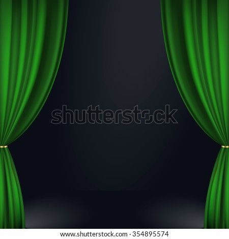 Vector illustration of a green stage curtain - stock vector