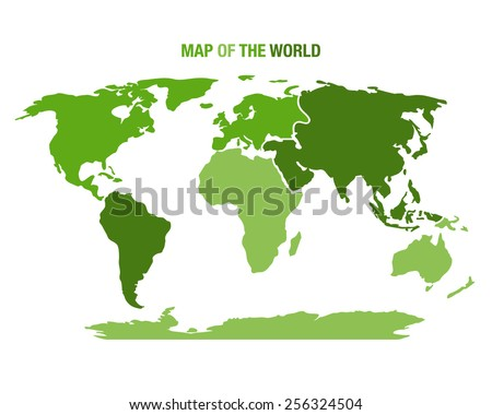 Vector illustration of a green world map - stock vector