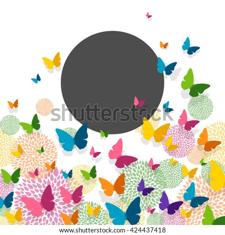 Vector Illustration of a Greeting Card Design with Colorful Paper Butterflies and Floral Elements - stock vector