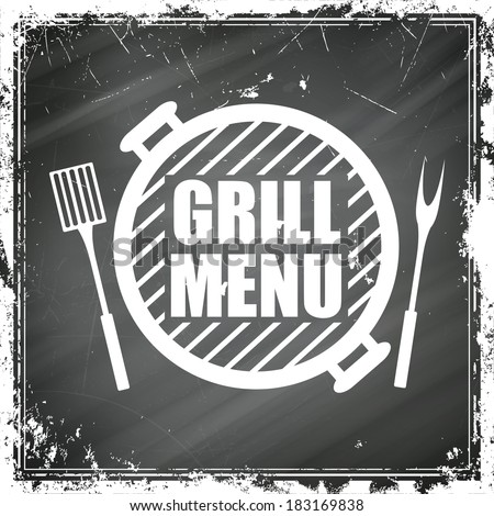 Vector Illustration of a Grill Menu Design on a Black Chalkboard - stock vector