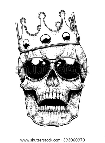 Vector illustration of a grinning human skull with a crown and aviator sunglasses. Accessories on separate layers plus skull drawing. - stock vector