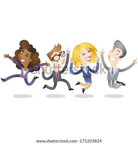 Vector illustration of a group of business people, male and female, jumping and laughing. Jpeg version also available in my gallery. - stock vector