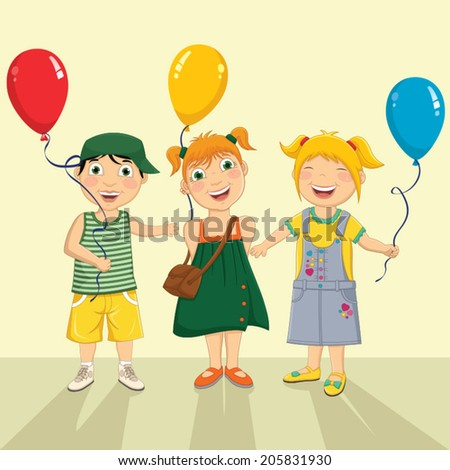 Vector Illustration Of A Group Of Children Keeping Balloons - stock vector