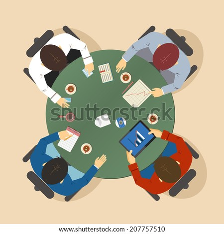 Vector illustration of a group of four businesspeople having a meeting seated around a table in a team discussion and brainstorming session viewed from above - stock vector