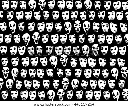 Vector illustration of a group of Halloween mask for background pattern.  - stock vector