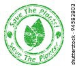 "Vector illustration of a grunge rubber  stamp with the text  ""save the plants!"" written inside the stamp. - stock vector"