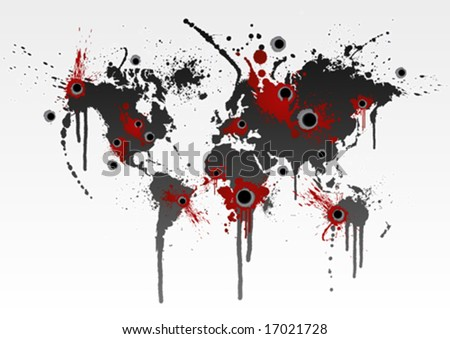 Vector illustration of a grunge world map splatter with gunshot wounds. Globalization business or ecological catastrophe concept. - stock vector