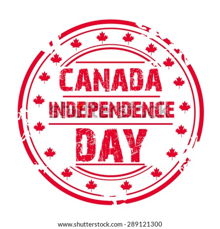Vector illustration of a grungy stamp for Canada Independence Day. - stock vector