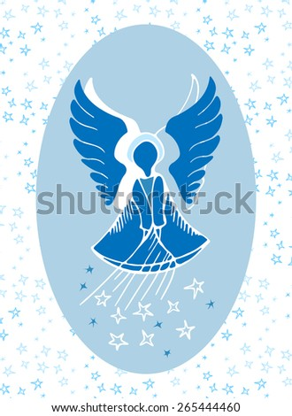Vector illustration of a guardian angel bestowing stars from above. Fine gift for a little boy for the name day. - stock vector