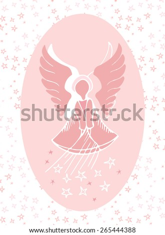 Vector illustration of a guardian angel bestowing stars from above. Fine gift for a little girl for the name day. - stock vector