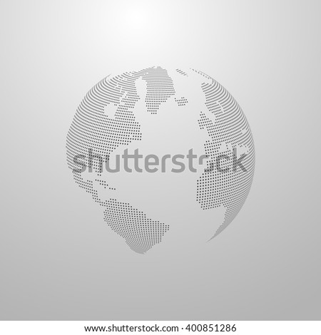 Vector illustration halftone world map globe stock vector 400851286 vector illustration of a halftone world map globe label design world global communication concept gumiabroncs Images