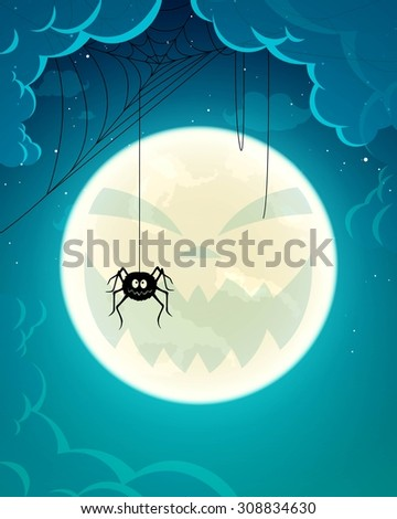 Vector Illustration of a Halloween Background with Spider