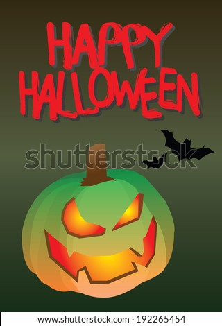 Vector illustration of a Halloween pumpkin with an evil grin. Halloween concept with copy space,  - stock vector