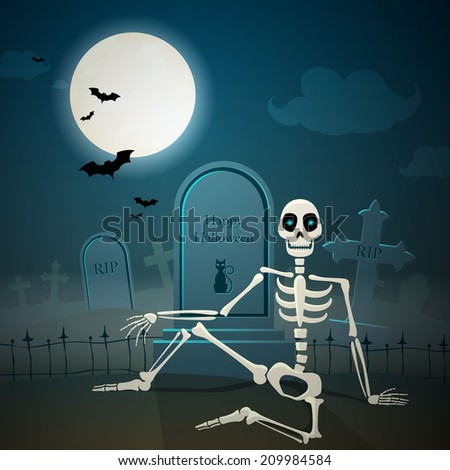 Vector Illustration of a Halloween Skeleton - stock vector