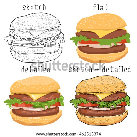 Vector illustration of a hamburger drawn in different styles. Fast food sketch, digital drawing, painting. Beautiful burger drawing isolated on white background