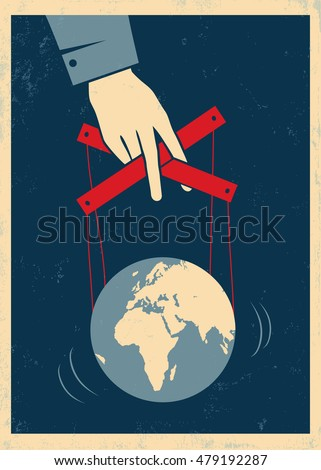 Vector illustration of a hand controls Earth like a puppet