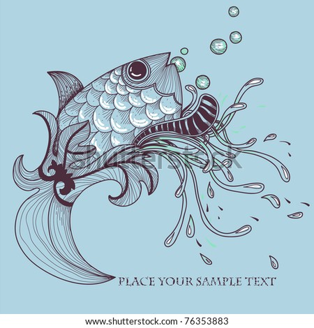 vector illustration of  a hand drawn fish and fantasy plants - stock vector