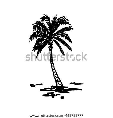 Vector illustration of a hand drawn palm trees. Design element for t-shirt prints. Tropical nature element.