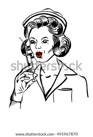 Vector illustration of a hand-drawn retro female portrait of a nurse with syringe.