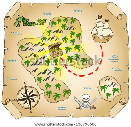vector illustration of a hand-drawn treasure map - stock vector