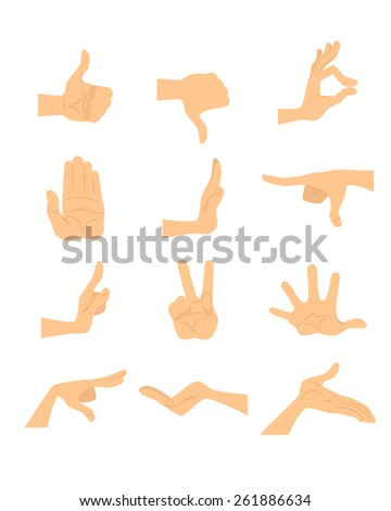 Vector illustration of a  hand gestures set - stock vector