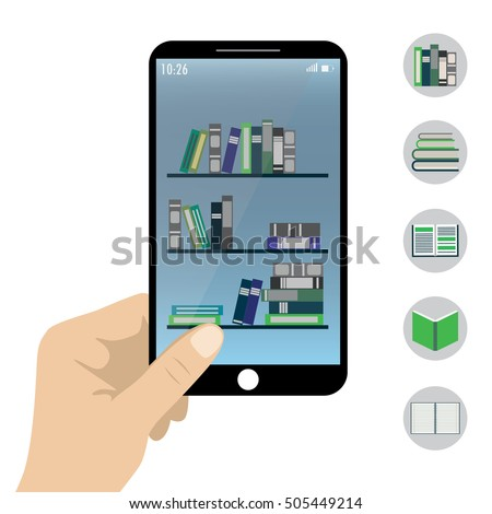 Vector illustration of a  hand holding smart phone- e-book reader application on screen.Five book icons.