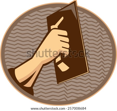 vector illustration of a hand of a plasterer worker tradesman plastering set inside oval done in retro style - stock vector