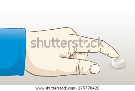 Vector illustration of a hand pressing a button. EPS10