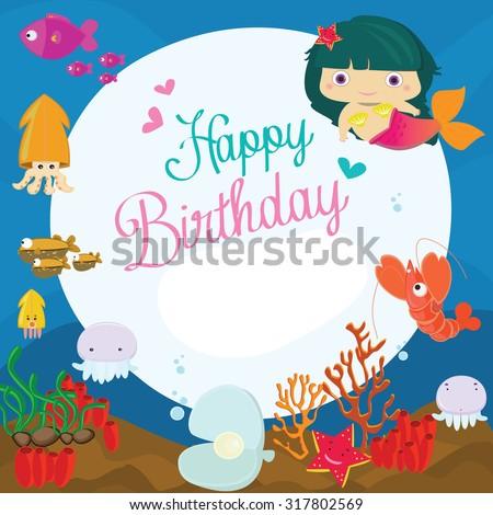 Vector Illustration Happy Birthday Greeting Card Underwater Stock