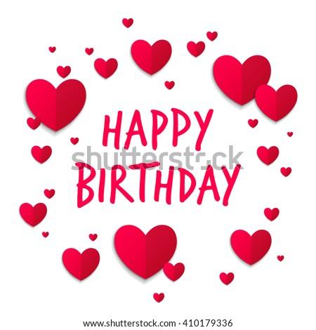 Vector illustration happy birthday greeting card stock vector vector illustration of a happy birthday greeting card with hearts bookmarktalkfo Gallery