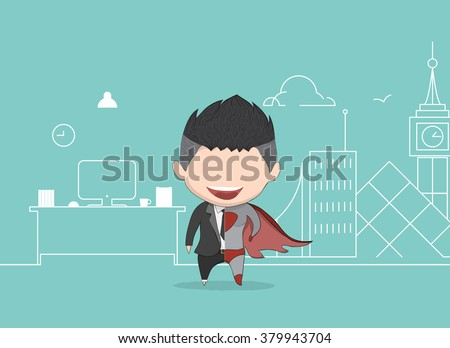 Vector illustration of a happy face businessman. a concept of balancing personal life between office and hero. drawing by hand vector and digital illustration created without reference image. - stock vector