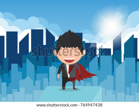 Vector illustration of a happy face businessman. a concept of balancing personal life between office and superhero businessman.