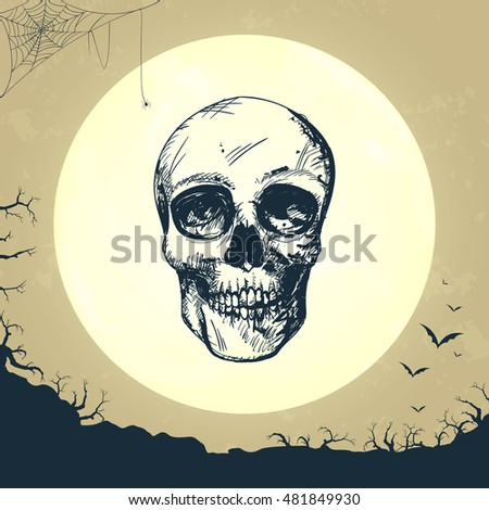 Vector Illustration of a Happy Halloween Design with Full Moon and a Hand Drawn Skull