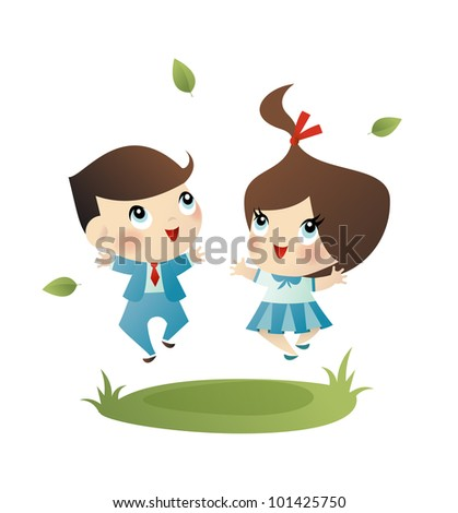Vector illustration of a happy little school girl and boy - stock vector