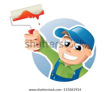 Vector illustration of a happy painter presenting a paint roller - stock vector