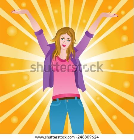 Vector illustration of a happy successful joyful woman - stock vector