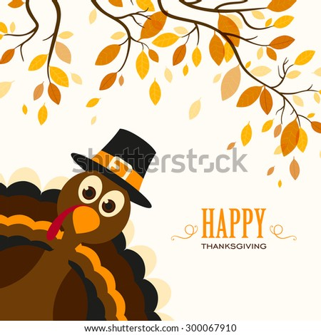 Vector Illustration of a Happy Thanksgiving Celebration Design with Cartoon Turkey - stock vector