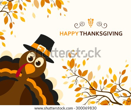 Vector Illustration of a Happy Thanksgiving Celebration Design with Cartoon Turkey and Autumn Leaves - stock vector