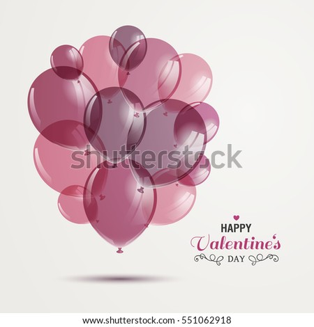 Vector Illustration of a Happy Valentines Day Design with Rose Balloons