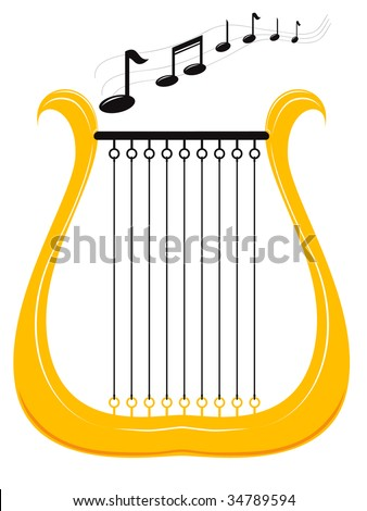 vector illustration of a harp and notes